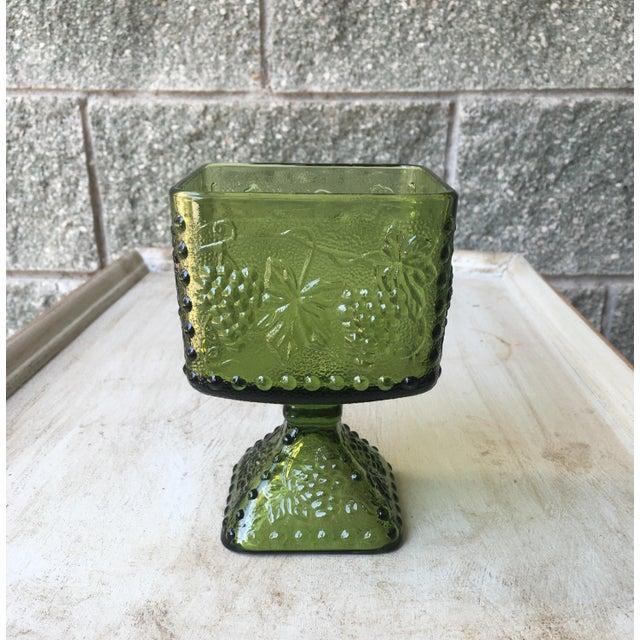 Vintage Green Glass Grapes Pedestal Planter - Image 2 of 7