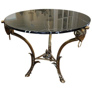 Glamorous LaBarge Black Marble With Ram's Head Motif Brass Centre Round Table For Sale