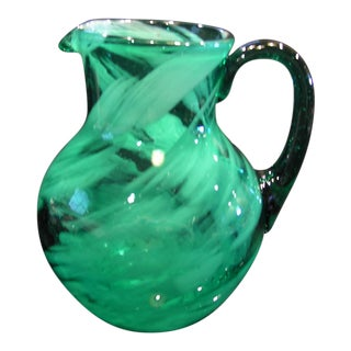 Vintage Hand-Blown Emerald Green Murano Splash Pitcher For Sale