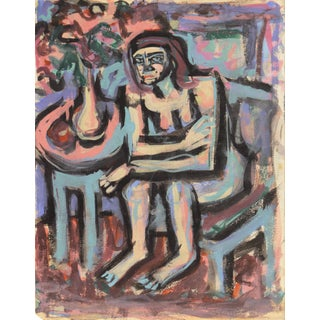 C. 1955 'Seated Nude' by Victor DI Gesu Painting For Sale