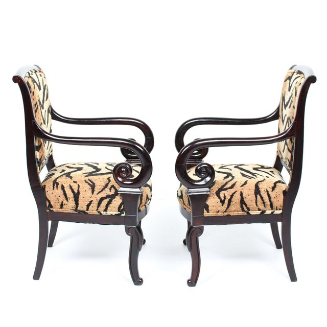 Antique Italian Armchairs With Animal Print - Pair - Image 3 of 5