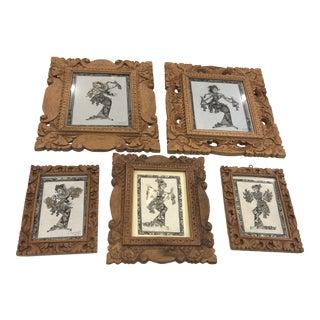 Signed Balinese Framed Art Prints Signed - Set of 5 For Sale