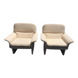 Saporiti Style Upholstered Lounge Chairs - A Pair For Sale