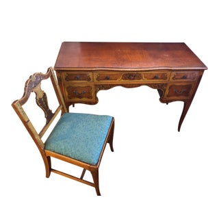 Antique Hand Wood Hand Painted Vanity and Chair Set For Sale