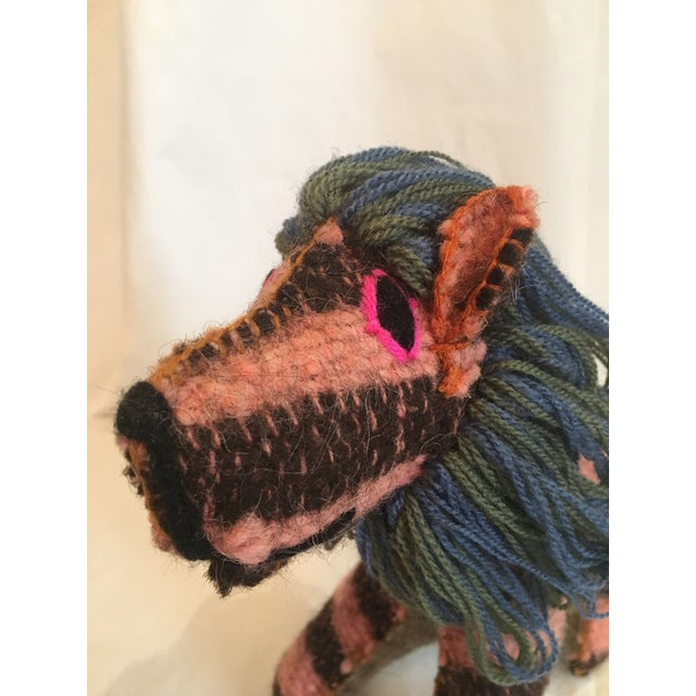 Hand-sewn Mexican folk art animal made from dyed wool and yarn. Tightly stuffed.