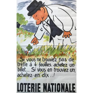 1950s French Lottery Poster, 4 Leaf Clover For Sale