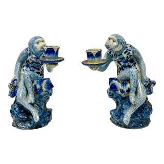 Pair of Blue & White Chinoiserie Monkey Candle Holders For Sale