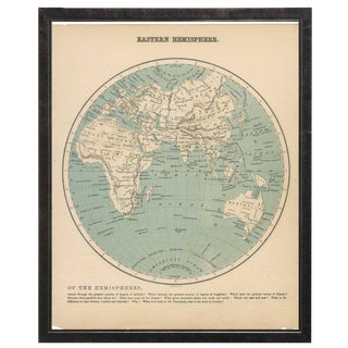 Eastern Hemisphere Map in Pewter Shadowbox For Sale