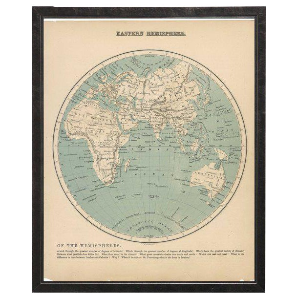 Eastern Hemisphere Map in Pewter Shadowbox | Chairish