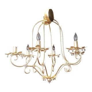 Very Fine Delicate Italian Iron W/ Gold Leaf Art-Deco Style Art 1078 Chandelier by Patrizia Garganti for Baga For Sale