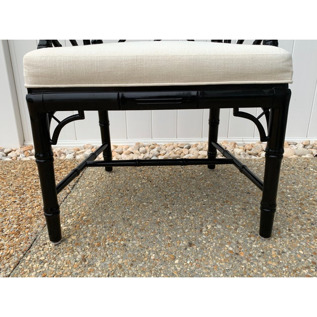 Black Jonathan Adler Black Lacquered Faux Bamboo Chippendale Chairs, Pair For Sale - Image 8 of 13