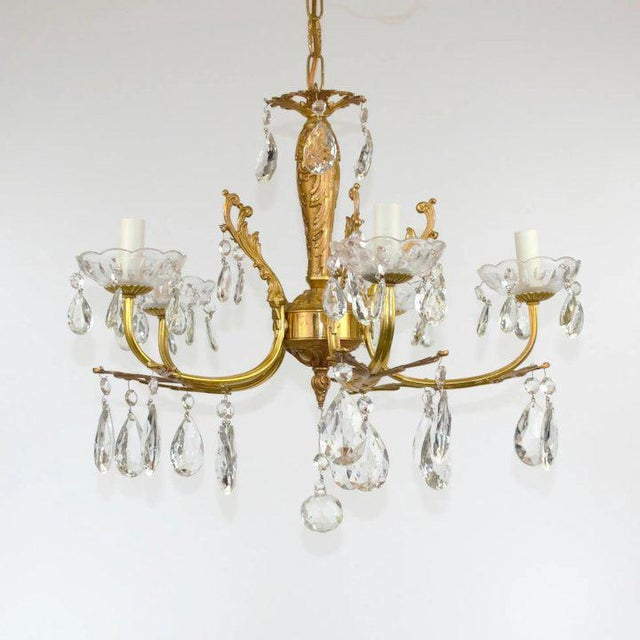 Brass & Crystal Chandelier For Sale - Image 4 of 10