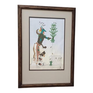 Rafael Medina (1929-1998) Original Zia Pueblo School Gouache Painting C. 1971 For Sale