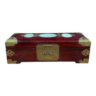 Mid-Century Chinese Rosewood & Brass Jewelry Box For Sale