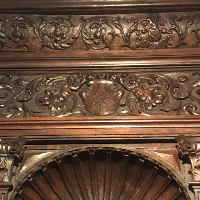 Mid 19th Century Hand-Carved Renaissance Style Wood Mantel with Trumeau For Sale - Image 5 of 9