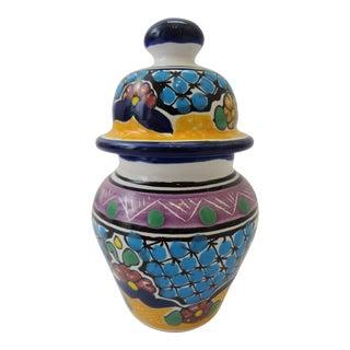 Miniature Lidded Hernandez Talavera Ginger Jar For Sale