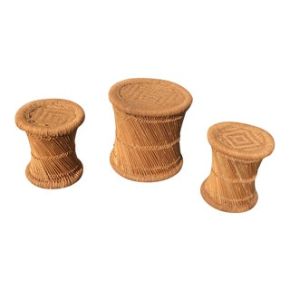 Round Rattan Stools - Set of 3 For Sale