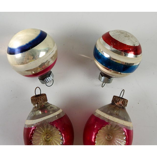 Contemporary Group of Vintage Striped Christmas Ornaments - Set of 5 For Sale - Image 3 of 4