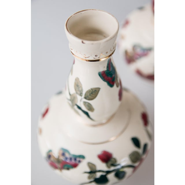 Antique Italian Floral & Butterflies Double Gourd Vases - a Pair For Sale In Houston - Image 6 of 9