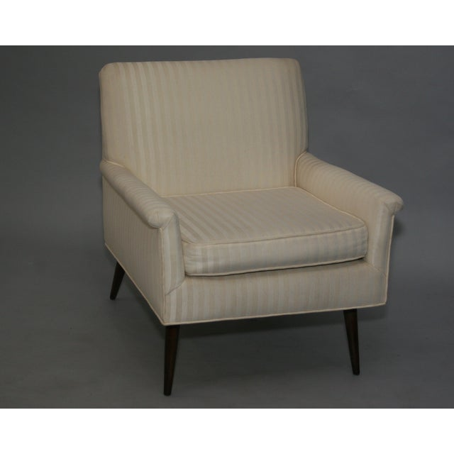 Mid-Century Modern Ivory Stripe Lounge Chair - Image 8 of 8