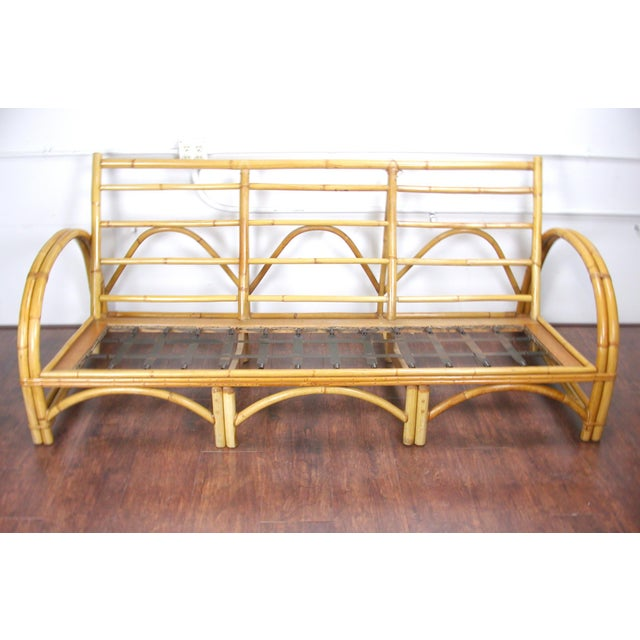 Mid-Century Modern C 1950 Fitz & Reed Style Rattan Bamboo Sofa For Sale - Image 3 of 6
