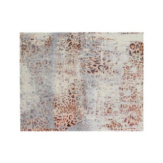 Abstract Modern Hand-Knotted Wool and Bamboo Silk Leopard Rug - 8′ × 10′ For Sale