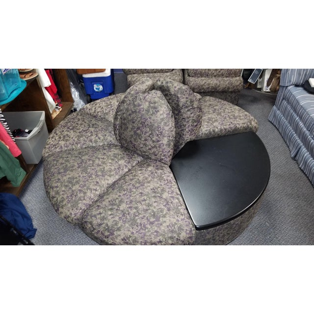 Vintage round brocade lobby sectional settee with detachable table. Each section can also be rearranged to a different...