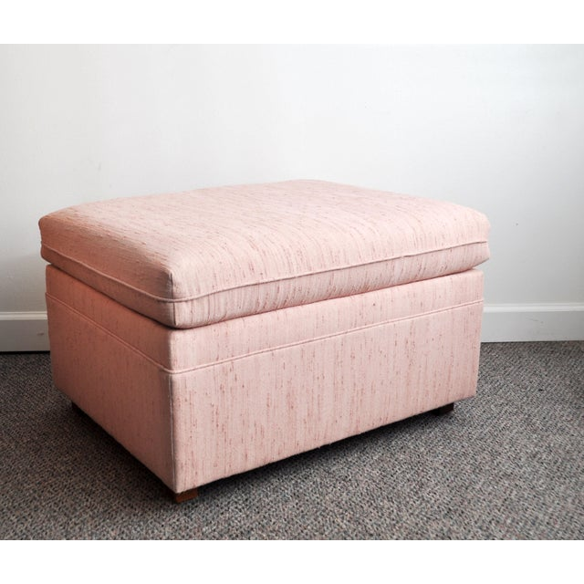 Cotton Blush Pink Upholstered Ottoman For Sale - Image 7 of 9