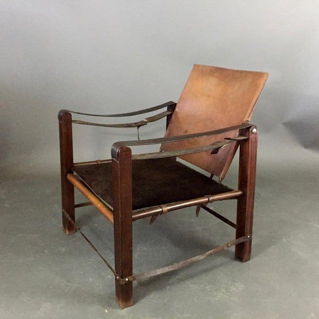 American Mid-Century Safari Chair, Reversible Seat Cover For Sale - Image 4 of 13