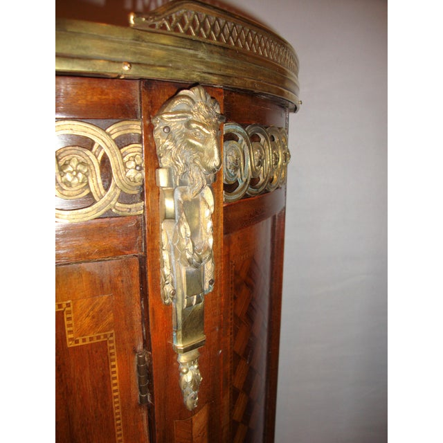 French Louis XV Style Inlaid Pedestal End Table Night Stand Gallery Marble Top - Image 3 of 7