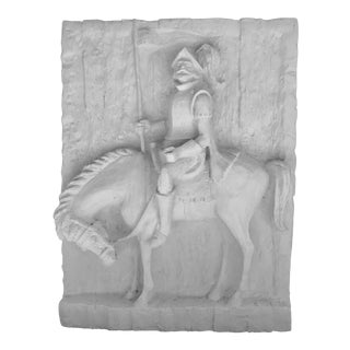 Don Quixote Wall Mounted Sculpture in Plaster Wash by Vanguard Studios