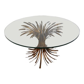 Wheat Sheaf Glass Top Cocktail Table For Sale