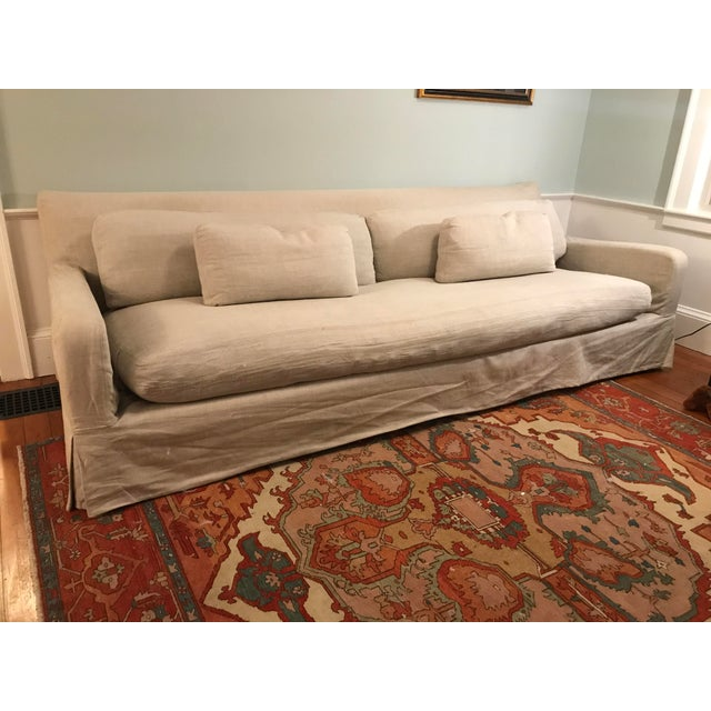 Contemporary Restoration Hardware Belgian Slope Arm Slipcovered Sofa For Sale - Image 3 of 7
