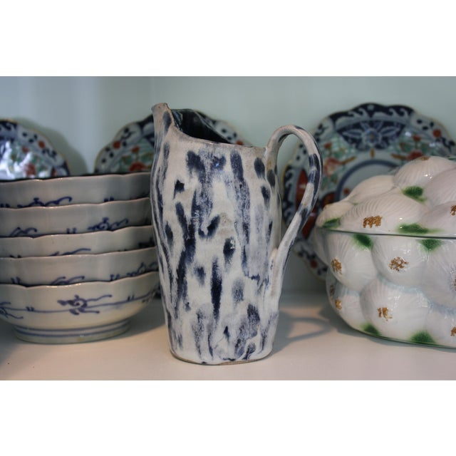 White Abstract Handmade Blue & White Stoneware Pitcher For Sale - Image 8 of 11