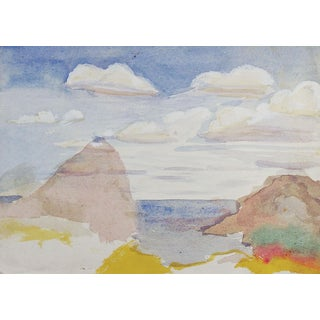 Minimalist Coastal Seascape Watercolor Painting For Sale