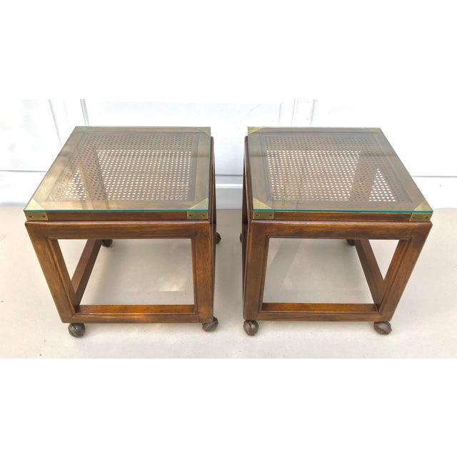 Mid-Century Rolling Cane Tables - a Pair - Image 2 of 5