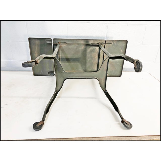 Vintage Industrial Green Typewriter Table with Double Drop Leaf For Sale - Image 11 of 13