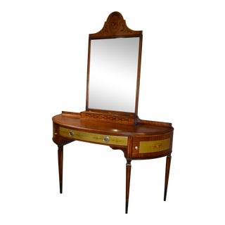 1950s Antique Royal Irwin Furniture Hand Painted & Inlaid Satinwood Vanity With Mirror For Sale