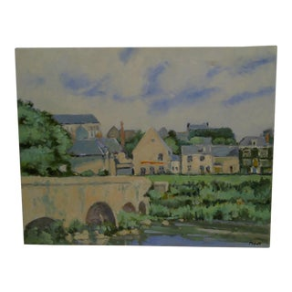 """20th Century Contemporary Original Framed Painting on Canvas, """"The Village"""" by Frederick McDuff"""