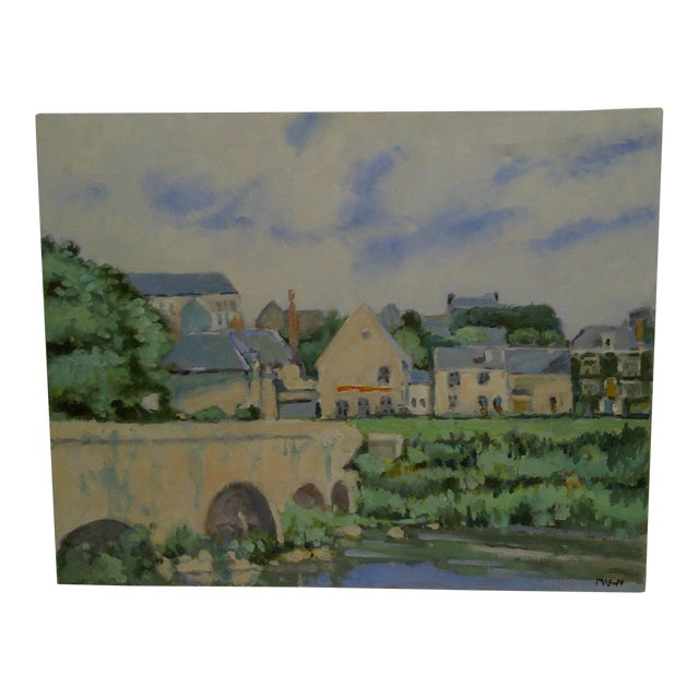"""20th Century Contemporary Original Framed Painting on Canvas, """"The Village"""" by Frederick McDuff For Sale"""
