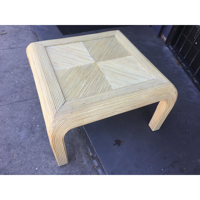 Wood Gabriela Crespi Style Pencil Rattan Square Coffee Table For Sale - Image 7 of 9