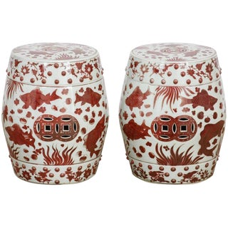 Chinese Ceramic Aquatic Life Garden Stools or Drink Tables - a Pair