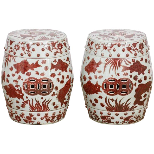 Chinese Ceramic Aquatic Life Garden Stools or Drink Tables - a Pair For Sale