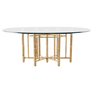 McGuire California Modern Bamboo Rattan Oval Dining Table For Sale