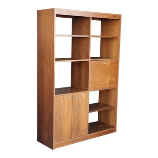 1970's Mid-Century Modern Ello Walnut Shelving Unit For Sale