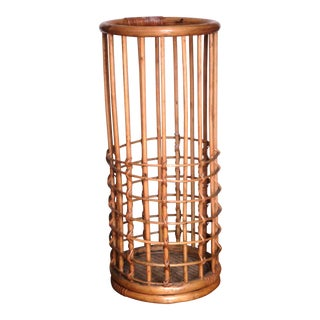 Vintage Bamboo & Rattan Umbrella Stand For Sale