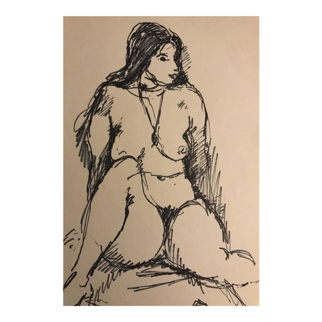 1955 Female Nude Drawing For Sale