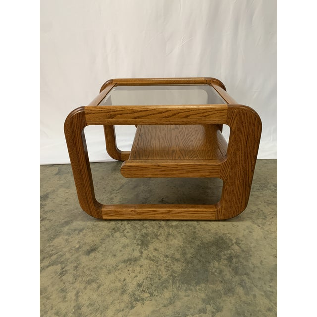 Brown 1970s Mid-Century Modern Lou Hodges Oak and Smoked Glass End Tables -- Set of 2 For Sale - Image 8 of 12