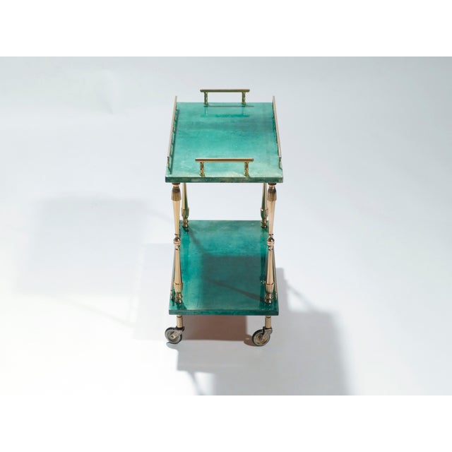 Small Aldo Tura Goatskin Parchment Bar Cart, 1950s For Sale - Image 6 of 10