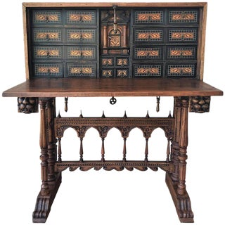 17th Century Bargueno of Columns with Foot Bridge, Spain, Cabinet on Stand For Sale